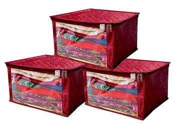 atorakushon® Satin Saree Cover Garments Cover Bag Wardrobe Organiser Up to 15 Clothes Storage Set Pack of 3 (Maroon)