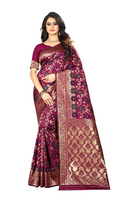Wine Woven Jacquard Saree With Blouse