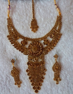 Traditional AD Zircon Stone Golden Fancy Stylish Party Wear Wedding necklace earring mangtika set