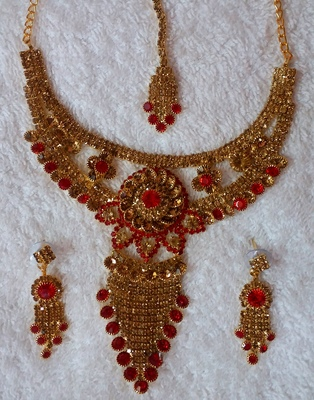Traditional AD Zircon Stone Red And Golden Fancy Stylish Party Wear Wedding necklace earring mangtika set