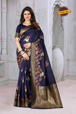 Navy Blue Woven Jacquard Saree With Blouse
