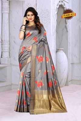 Grey woven jacquard saree with blouse