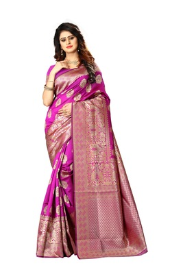 Royal Blue Woven Jacquard Saree With Blouse