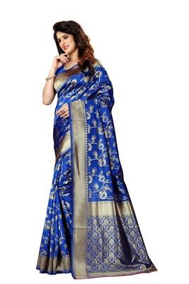 Royal blue woven jacquard saree with blouse