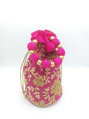 Core Classiques Pink Embroidered Potli Bag