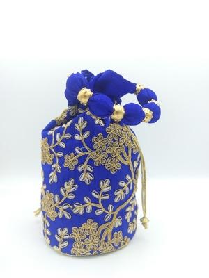 Core Classiques Blue Embroidered Potli Bag