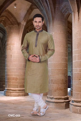 Green plain poly cotton men-kurtas