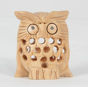 Wodden Owl Brown Statue With Jali Carving Work Antique Showpiece