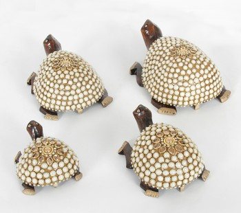 Handcraft Golden Coloured Turtle With Pearl Fine Work Statue For Home Decor