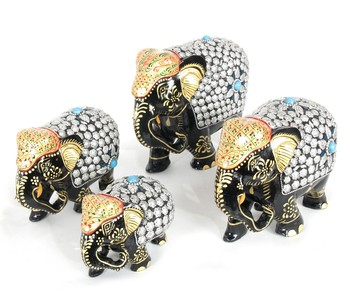 Handcraft Silver Coloured Elephant Statue Fine Work For Home Decor