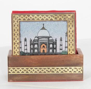 Handcraft Wodden Tea Coaster Brown Coloured Fine Work For Home Use