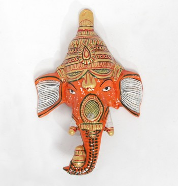 Handcraft Lord Ganesha Orange Coloured For Home Decor