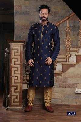 Blue embroidered art silk men-kurtas