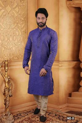 Blue embroidered jacquard men-kurtas