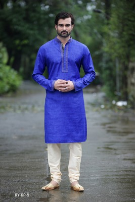 Blue plain poly cotton men-kurtas