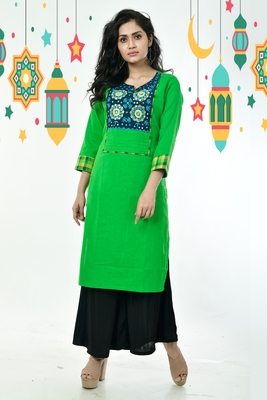 Kelly Green And Blue Ari Stitched Patch With Foil Mirror Cotton Kurti