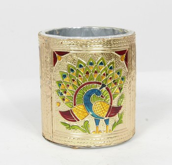 Handcraft Designed Silver Coated Round  Steel Box Golden Coloured For Home Use