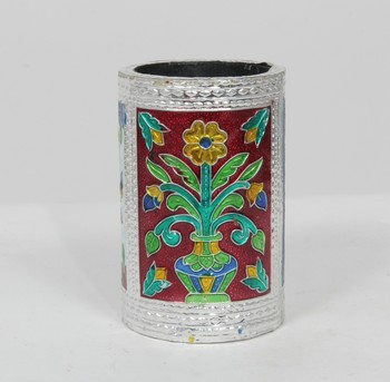 Handcraft Designed Silver Coated Round  Steel Box Silver Coloured For Home Use