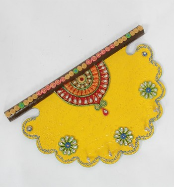 Handcraft Wooden Wall Shelf with Key Holder Yellow Coloured For Home Decor