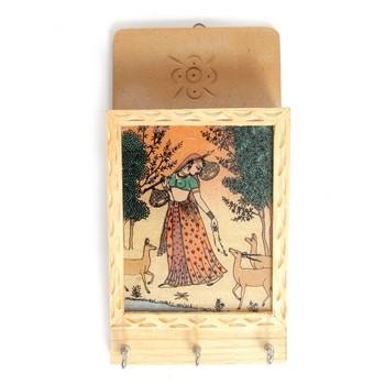 Handcraft Wooden Key Holder Antique Fine Work Amber Coloured For Home Decor
