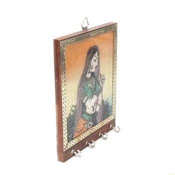 Handcraft Wooden Key Holder Antique Fine Work Brown Coloured For Home Decor