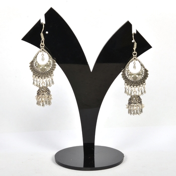 Silver Oxidized Afghani Tribal Dangle Light Weight Jhumki Earrings For Women And Girls