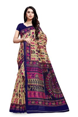 Beige printed bhagalpuri cotton saree with blouse