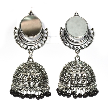 Silver Oxidized Afghani Tribal Mirror Dangle Light Weight Jhumki Earrings for Women and Girls