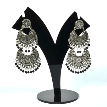 Silver Oxidized Afghani Tribal Dangle Light Weight Earrings for Women and Girls