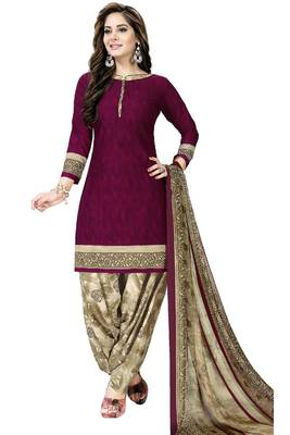 MAGENTA ABSTRACT PRINT CREPE SALWAR WITH DUPATTA UNSTITCHED