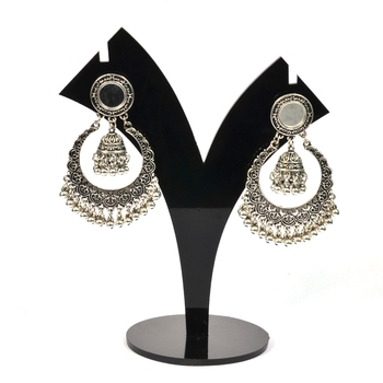 Silver Oxidized Afghani Tribal Mirror Dangle Light Weight Earrings For Women And Girls