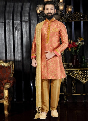 Orange embroidered jaquard kurta-pajama
