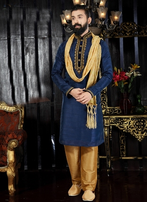 Blue embroidered art dupion silk kurta-pajama