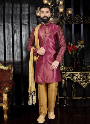 Maroon embroidered jaquard kurta-pajama