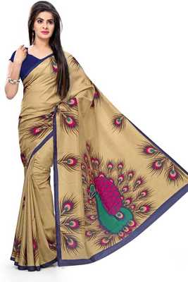 beige Peacock Feather Print Malgudi Golden Silk blend Saree