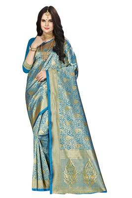 Sky blue woven silk saree with blouse
