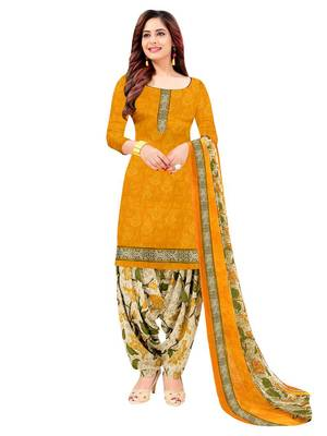 YELLOW PRINTED CREPE SALWAR UNSTITCHED