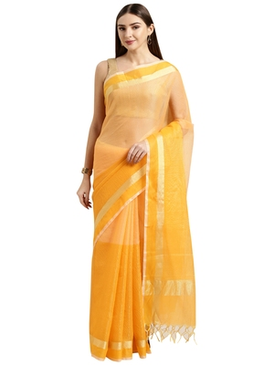 Mustard plain blended cotton saree with blouse