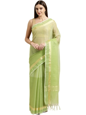 Light green plain blended cotton saree with blouse