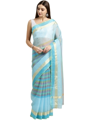 Sky blue printed blended cotton saree with blouse