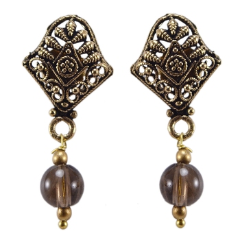 Brown quartz earrings