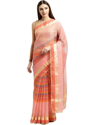 Light pink printed blended cotton saree with blouse