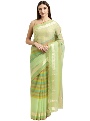 Light green printed blended cotton saree with blouse