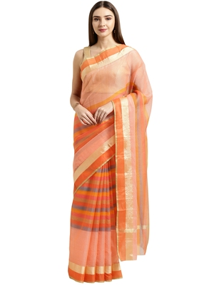Peach printed blended cotton saree with blouse