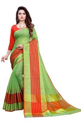 Green plain manipuri silk saree with blouse
