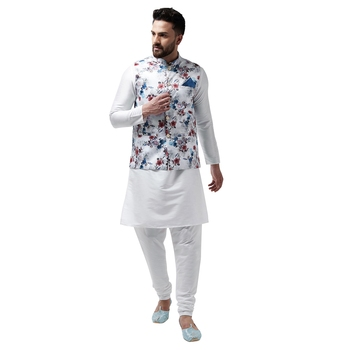 White plain dupion silk kurta-pajama