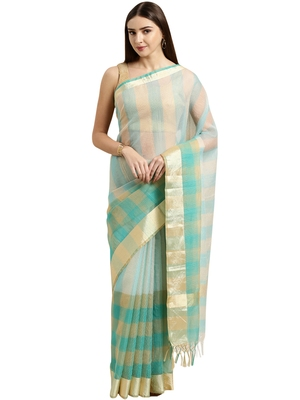 Turquoise printed blended cotton saree with blouse