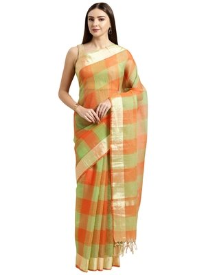 Orange printed blended cotton saree with blouse