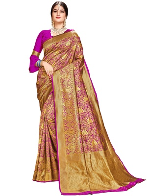 Magenta woven silk saree with blouse
