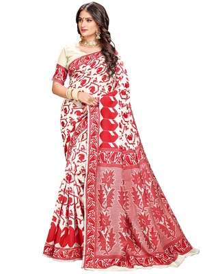 Red printed blended cotton saree with blouse